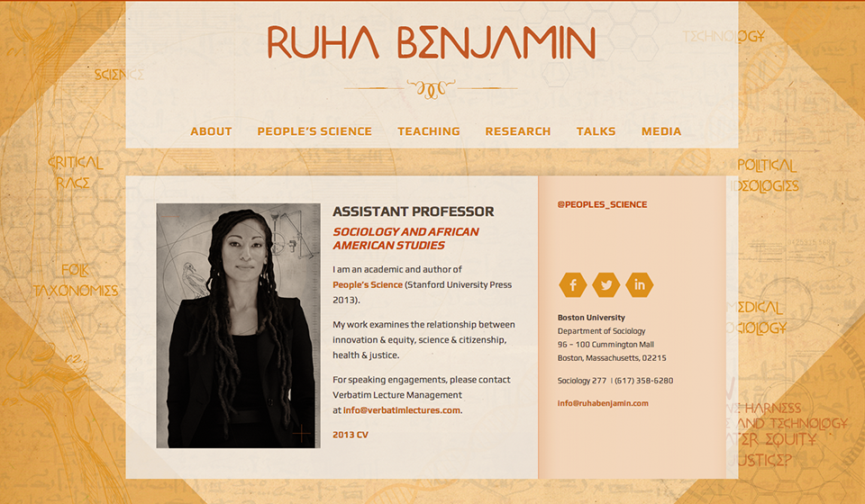 Web Design by Swash Design for Ruha Benjamin